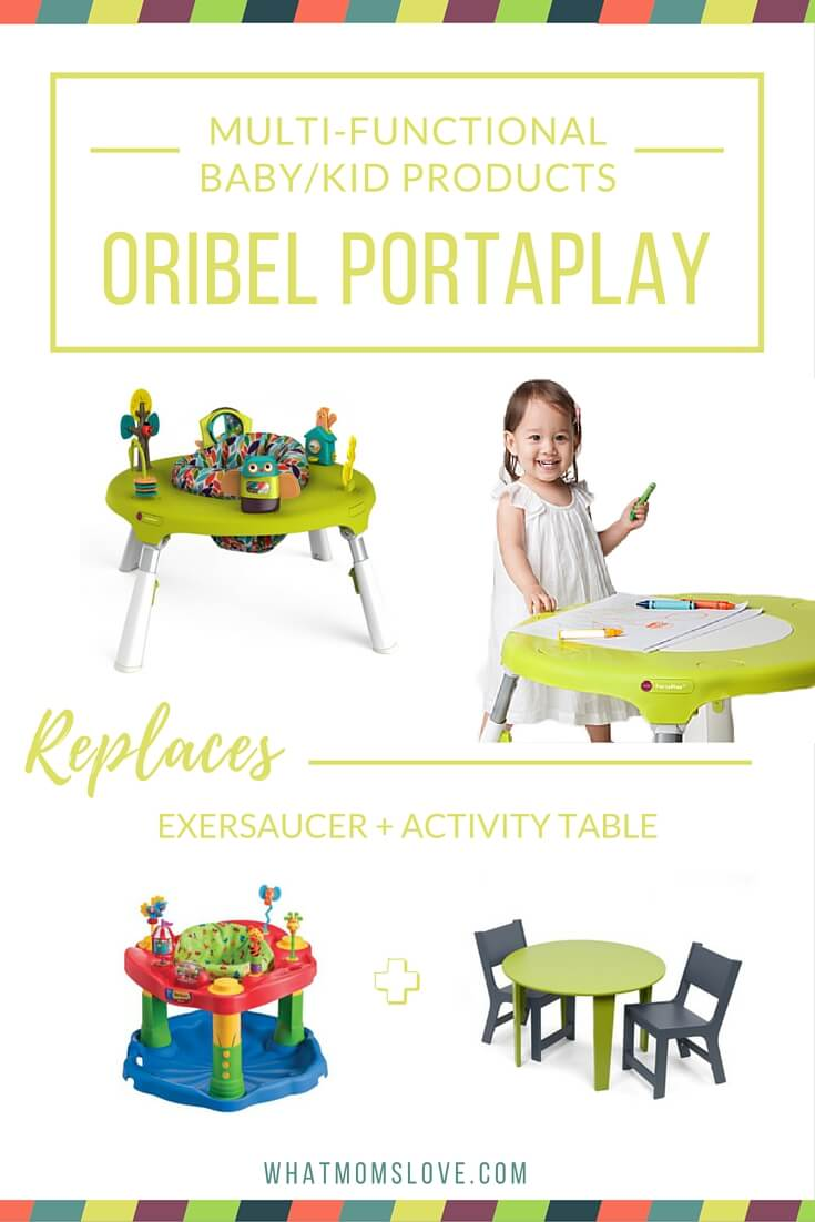 Buy less baby stuff with these multi-functional products. Oribel Portaplay Activity Center Exersaucer and Activity Table.