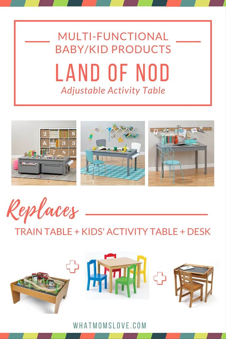 Buy less baby stuff with these multi-functional products. Land of Nod Adjustable Activity Table converts from train table to activity table to desk.