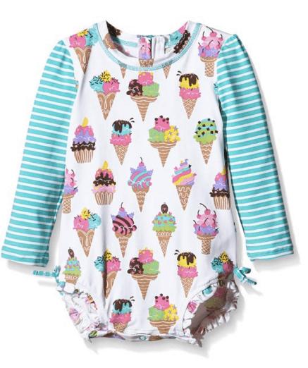 Hatley Baby Girls' Ice Cream Rash Guard