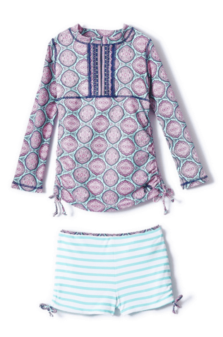 Cabana Life Girls' 2 piece Azalea Shores Rashguard Set