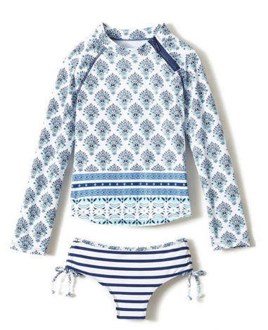 Cabana Life Girls' 2 piece Coastal Crush Rashguard Set