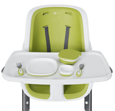 4moms high chair review - magnetic bowls, plate and utensils