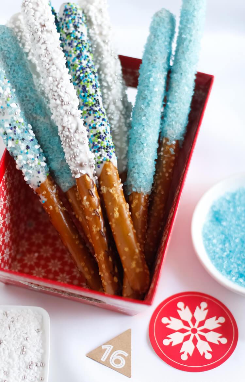 Easy Disney Frozen Treat Ideas - Pretzel Wands by Sprinkle Bakes