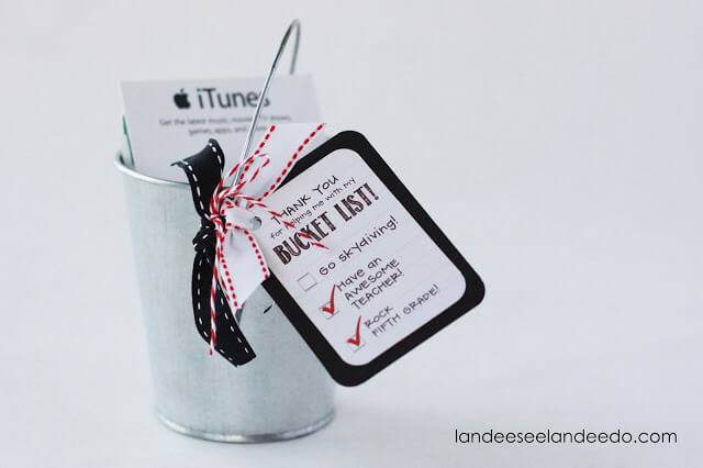 Teacher Gift Card Printables - Bucket List
