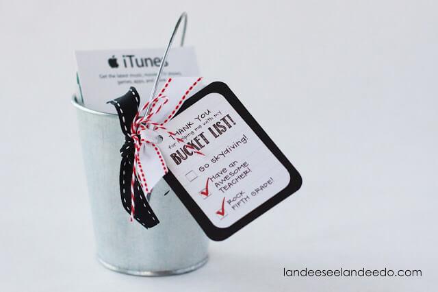 Teacher Gift Card Printables - Bucket List