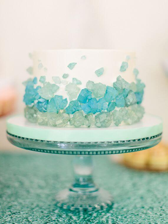 Easy Disney Frozen Cake Ideas - Ombre Rock Candy Cake by Sweet and Saucy
