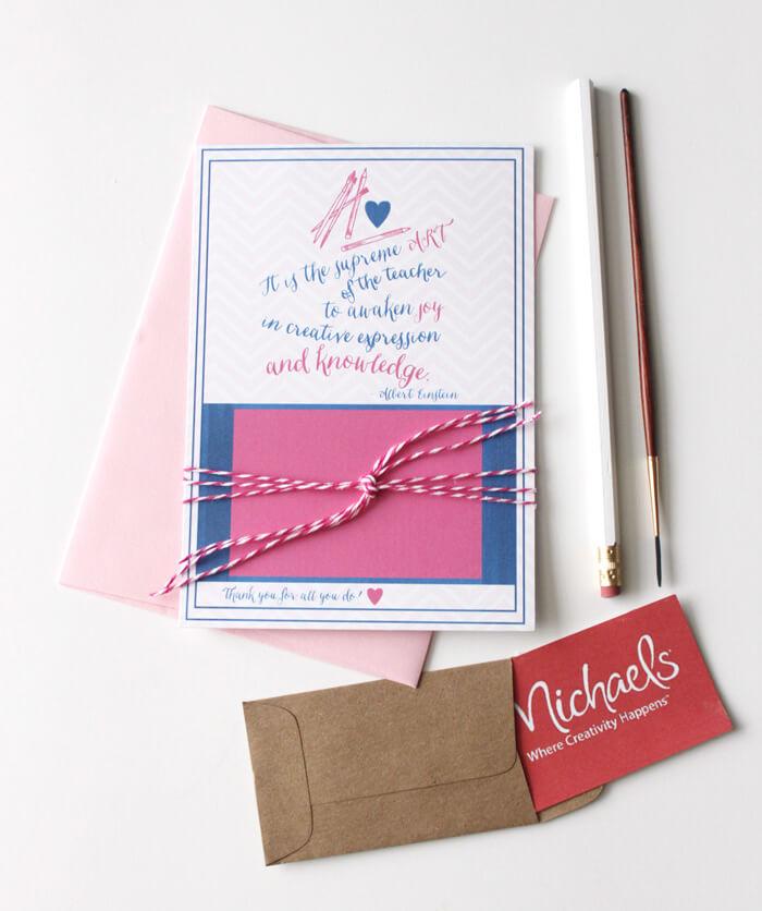 Teacher Gift Card Printables - Craft Store