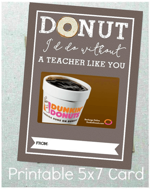 Teacher Gift Card Printables - Donut Shop