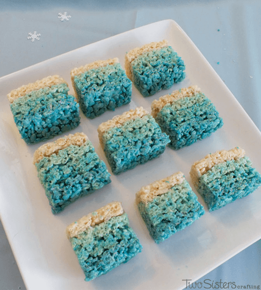 Easy Disney Frozen Treat Ideas - Ombre Rice Krispie Treats by Two Sisters Crafting