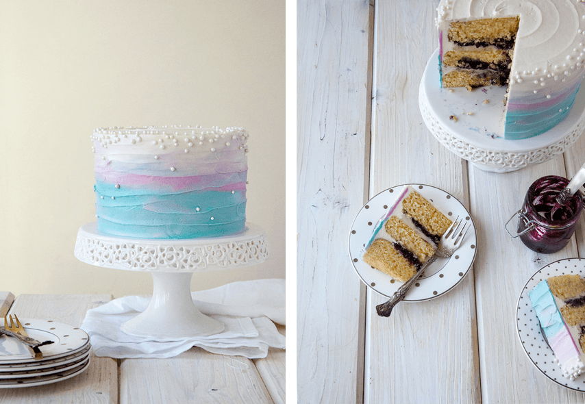 Easy Disney Frozen Cake Ideas - Ombre Blueberry Lavender Cake by Style Sweet CA