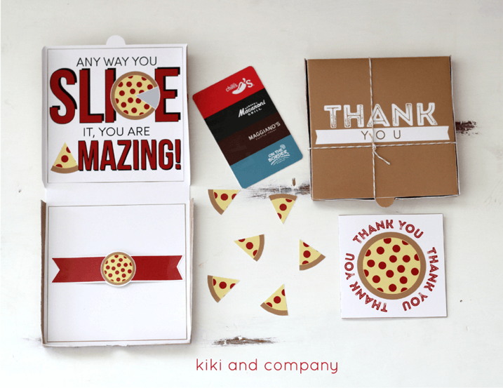 Teacher Gift Card Printables - Pizza Box Card