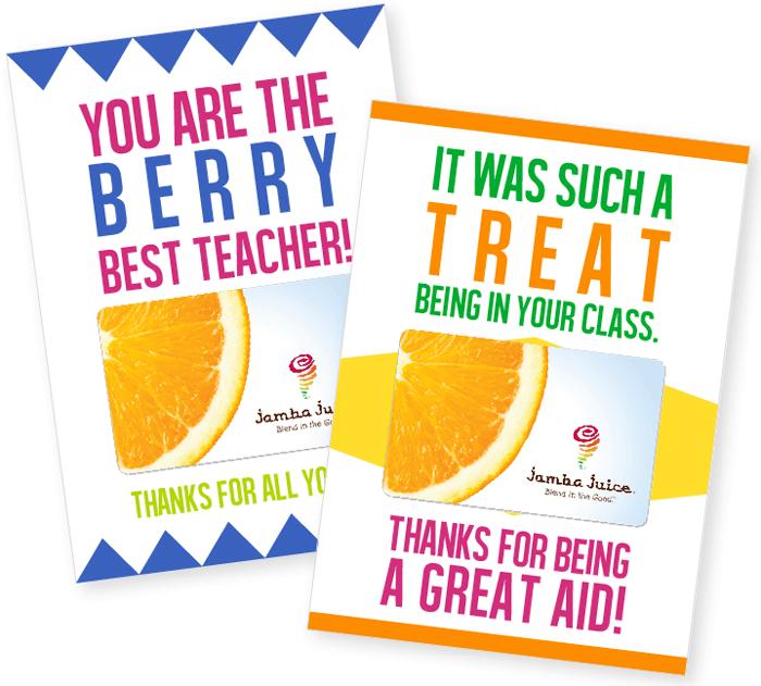 Teacher Gift Card Printables - Smoothie