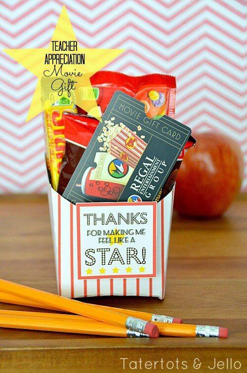 Teacher Gift Card Printables - Movie Box