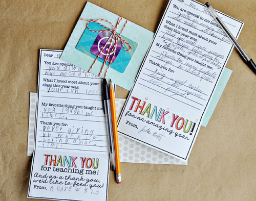 Teacher Gift Card Printables - personalized thank-you