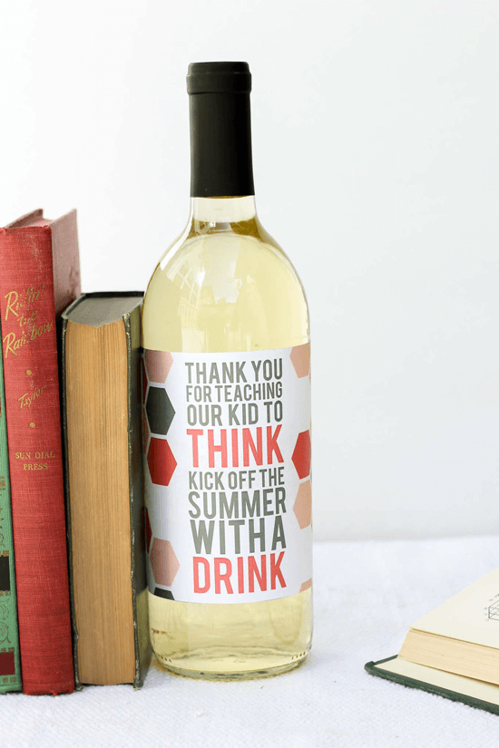 Teacher Appreciation Gift - Printable Wine Label
