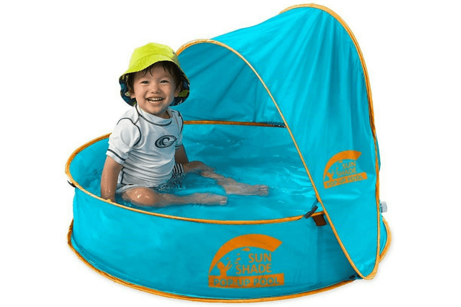 Beach Guide with Kids. Sun Shade Pop Up Pool.