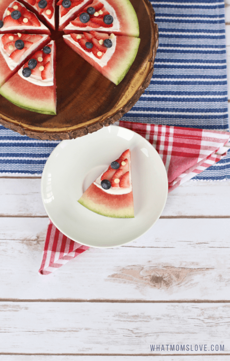 4th of July Dessert Recipe. Red, White and Blue Patriotic Watermelon Pizza.