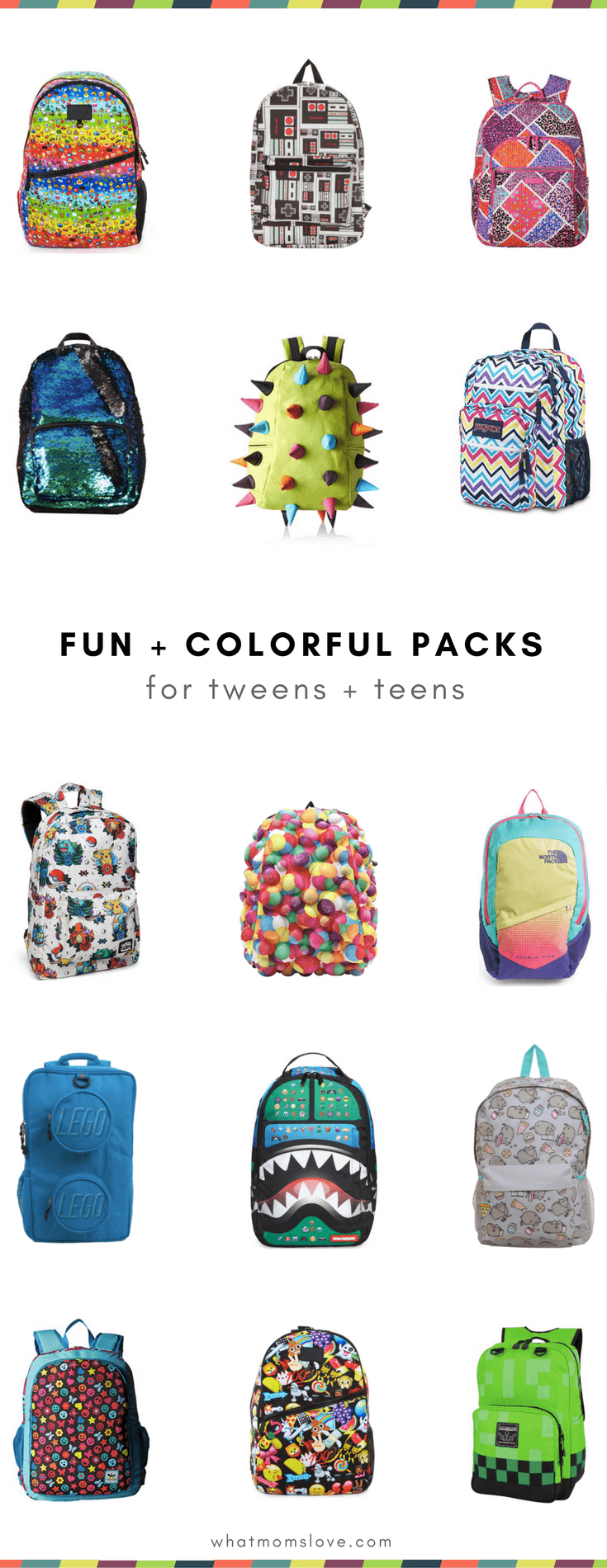 Best Backpacks for Tweens and Teens for Back to School - Colorful Fun Emoji