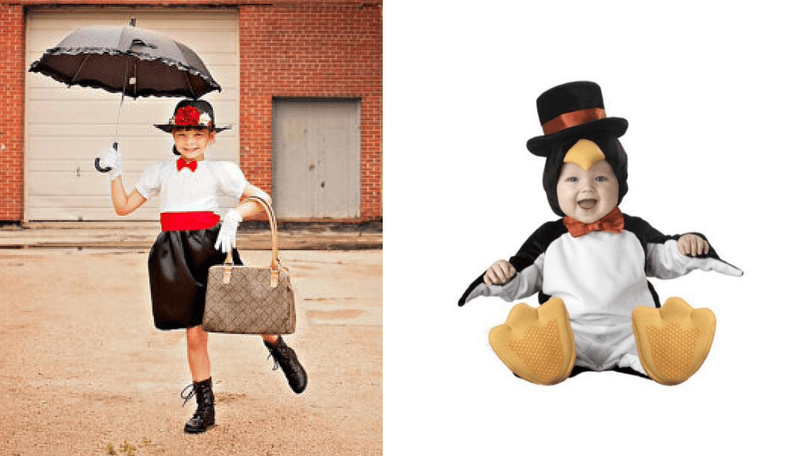 creative halloween costumes for siblings mary poppins and penguin