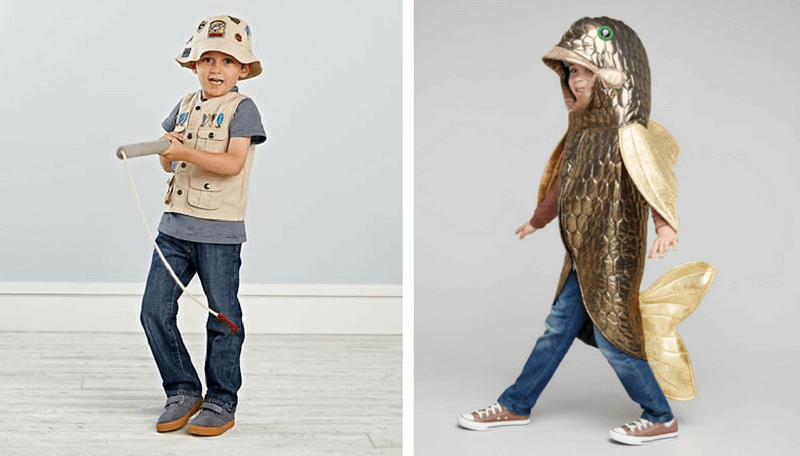 Creative Halloween Costumes for Siblings - Fisherman and Fish