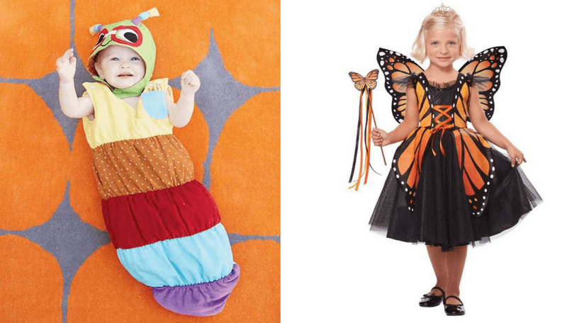 creative halloween costumes for siblings caterpillar and butterfly