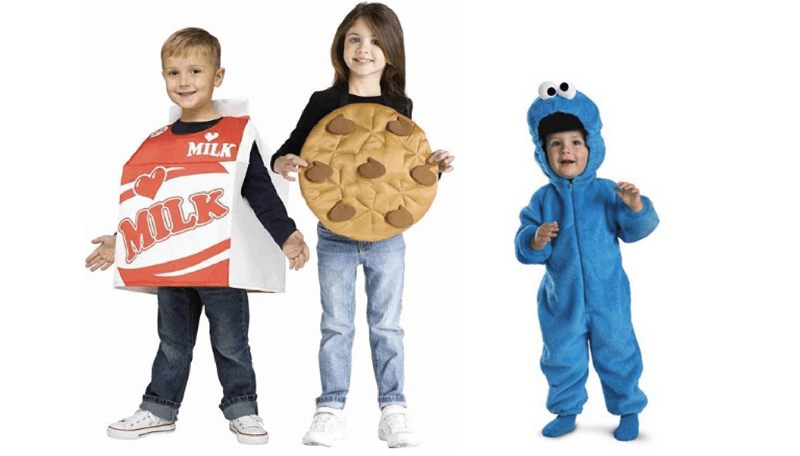 Creative Halloween Costumes for Siblings - Milk, Cookies and Cookie Monster