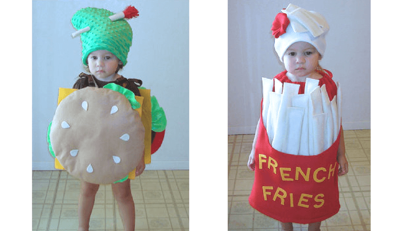 Creative Halloween Costumes for Siblings - Burger and Fries