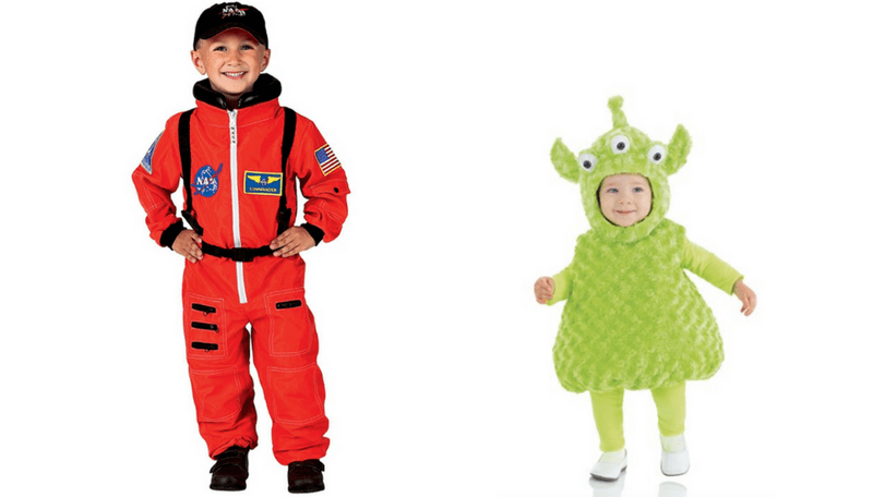 Creative Halloween Costumes for Siblings - Astronaut and Alien