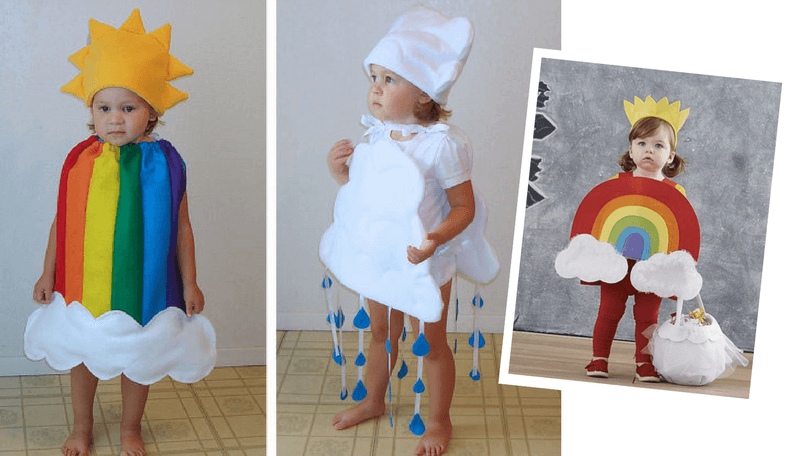 877e8602160 Creative Halloween Costumes for Siblings - Rain cloud and Rainbow