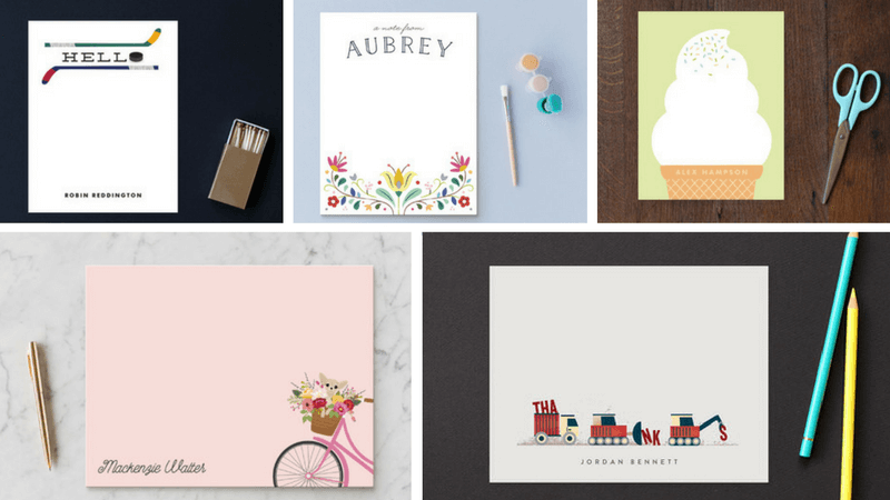 Best Non-Toy Gifts for Kids - Hobbies and Interests - Personalized Kids Stationary from Minted