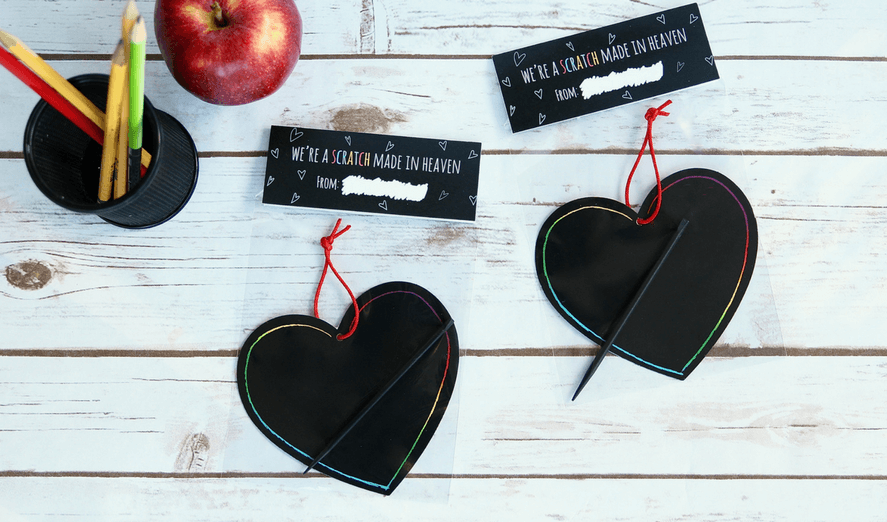 """Non-Candy Printable Valentine Perfect For The Classroom: """"We're AScratch Made In Heaven"""""""