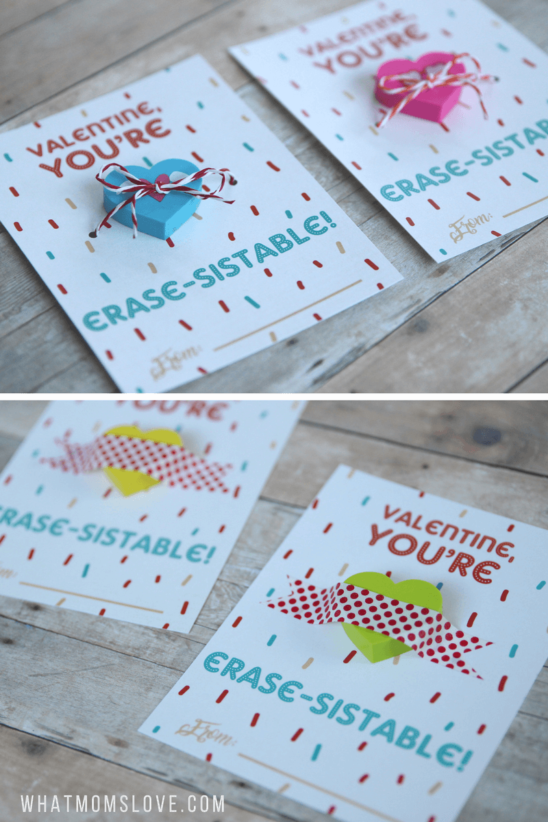 Free Printable Valentines For Kids. Such a fun idea for a non-candy Valentines card - perfect for your child's classroom Valentine's Day party!