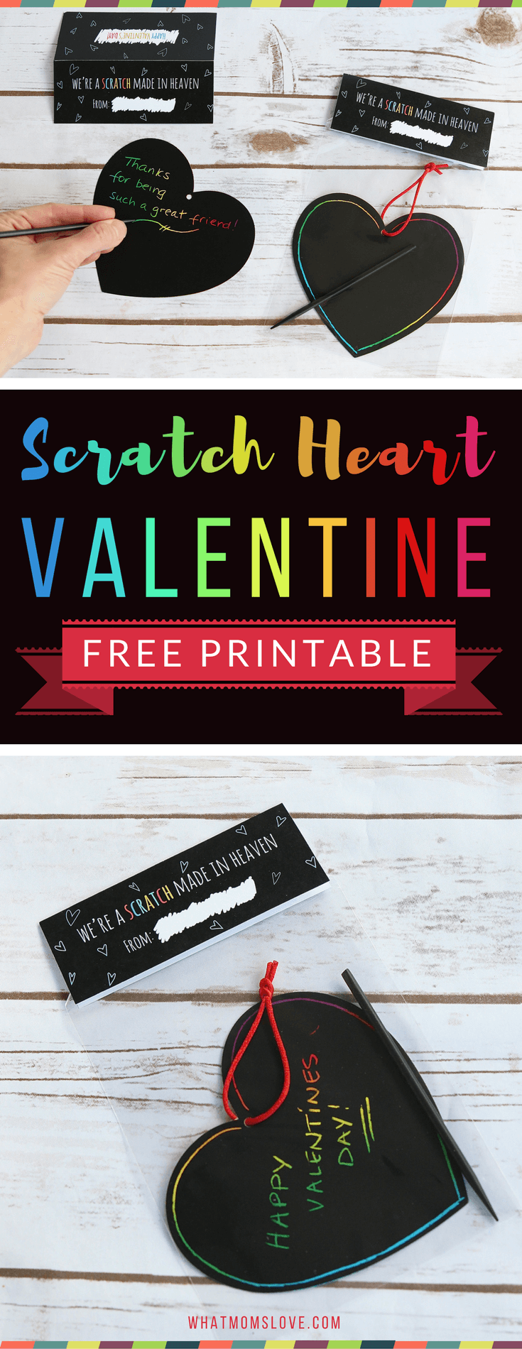 Free Printable Valentine for kids with a fun scratch heart! Such a fun idea for a non-candy Valentines card - perfect for your child's classroom Valentine's Day party!