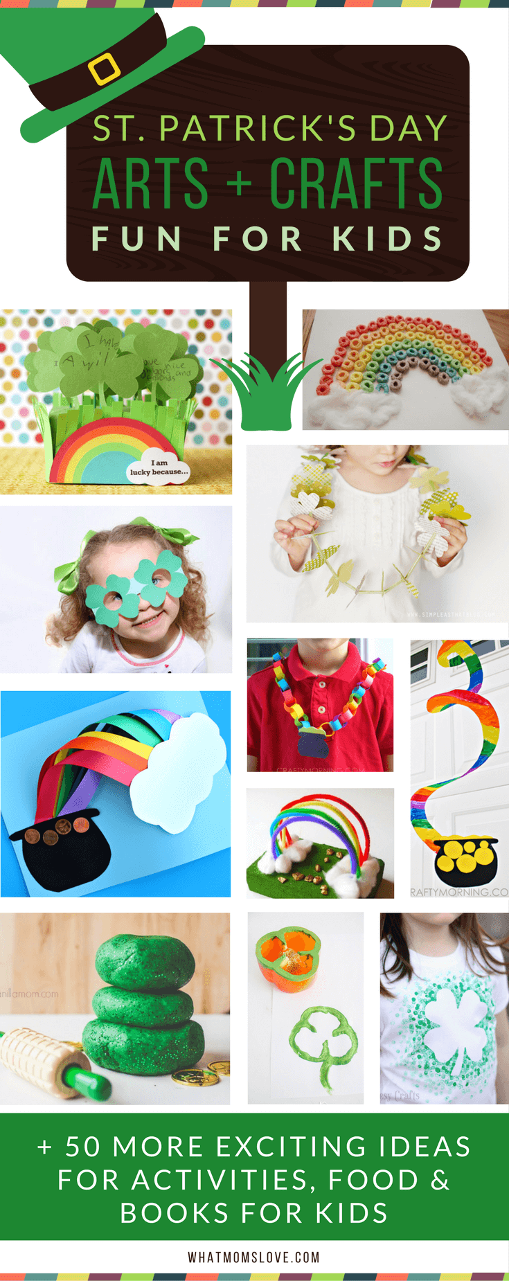 St Patricks Day Arts and Crafts Ideas for Kids | Fun DIY projects with Leprechauns, Shamrocks, and Rainbows! Plus free printables!