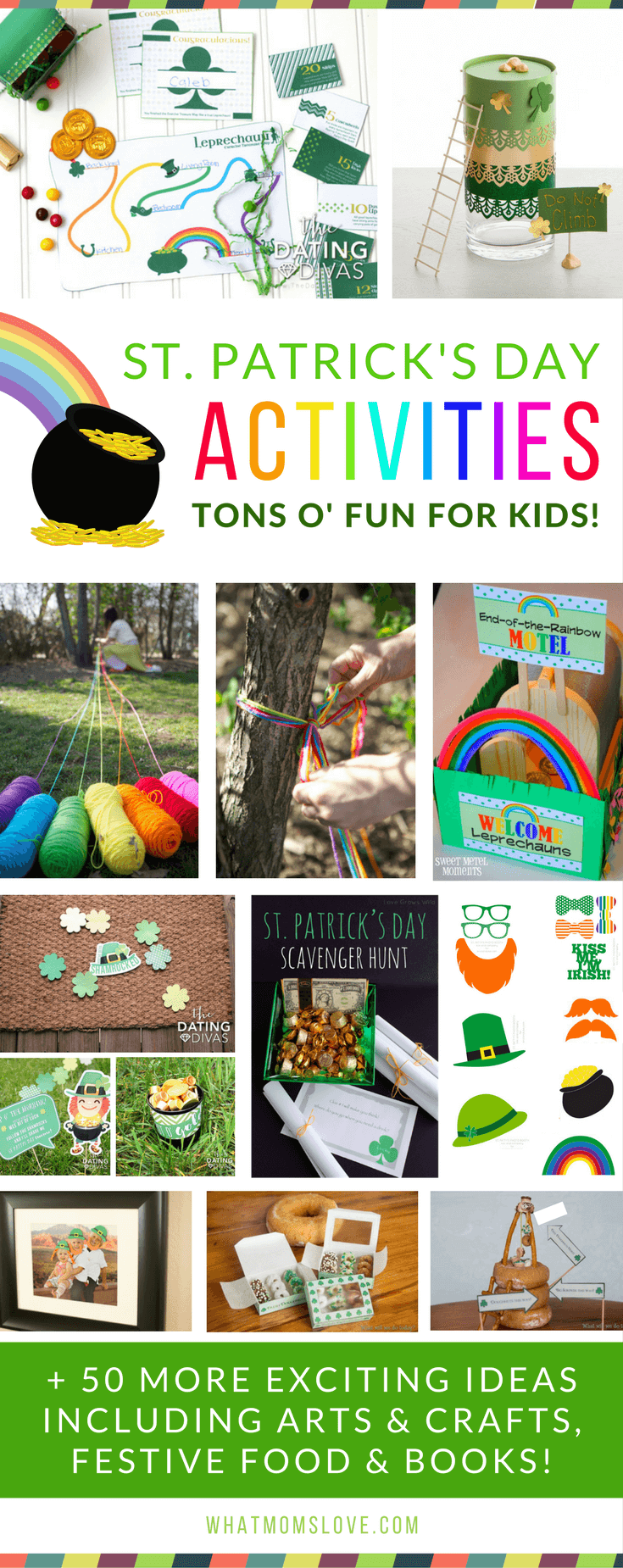 St Patricks Day Fun Activities For Kids - Leprechaun Traps, Tricks, Treasure Hunts + Arts and Crafts, Green and Rainbow Food, and book ideas.