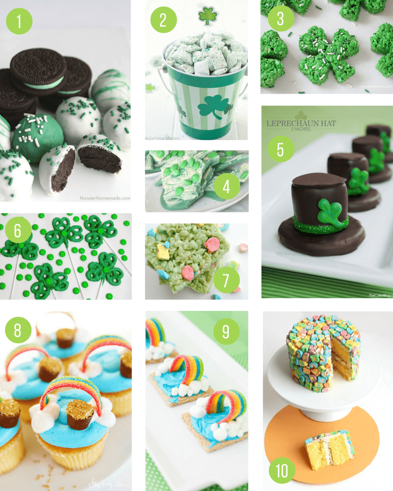 St Patricks Day Treats for Kids | Fun green, rainbow and shamrock themed food to celebrate St Paddys Day - perfect for a party or an after school snack!