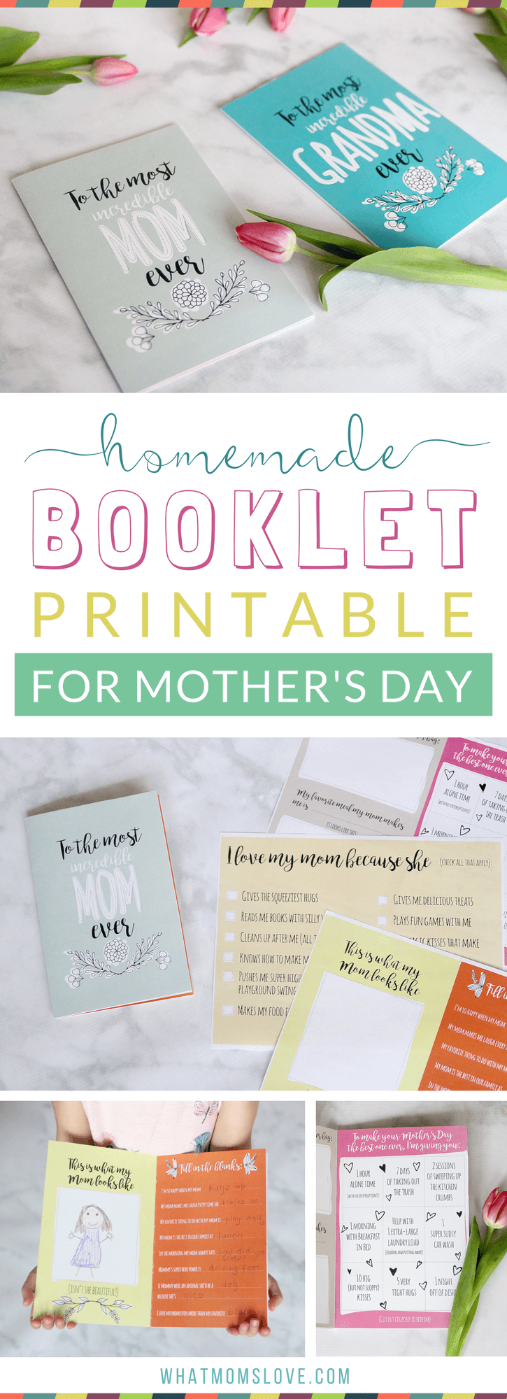 Free Printable Mothers Day Card | All About Mom or Grandma Book for kids to make - a unique personalized gift idea. Includes a fun questionnaire, coupons for mom, and space to draw and color. The perfect DIY homemade card for Mothers Day.