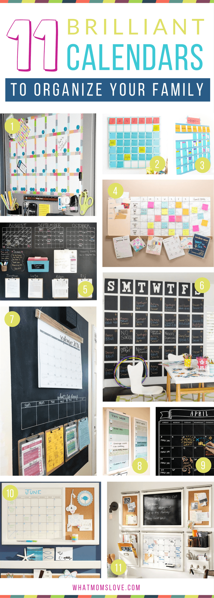 How to create a family wall calendar to organize your life   DIY Calendars and Command Center ideas, plus more tips, hacks and tricks to survive summer with your kids