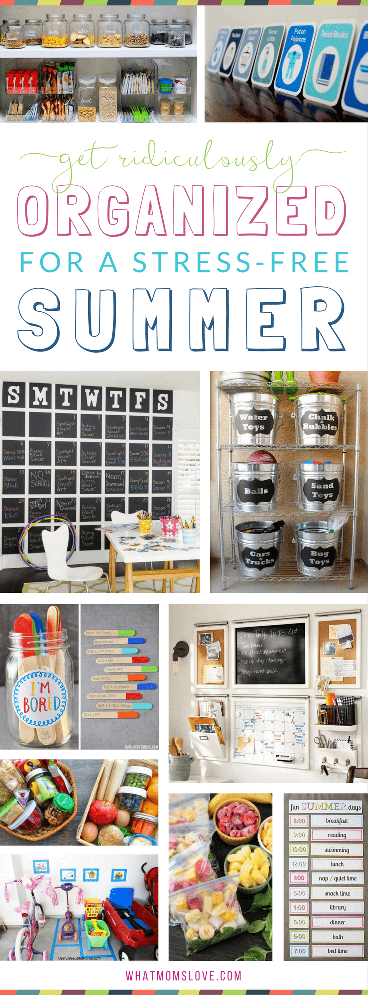 Organizational hacks, tips and tricks for a stress-free summer with your kids | How to organize your family's life for summer with smart ideas including summer schedule, morning and nighttime routine and chore charts, calendar planning, fun things to do when kids get bored (like an %22I'm bored jar%22!), DIY ways to organize your garage, snack prep tips and more!