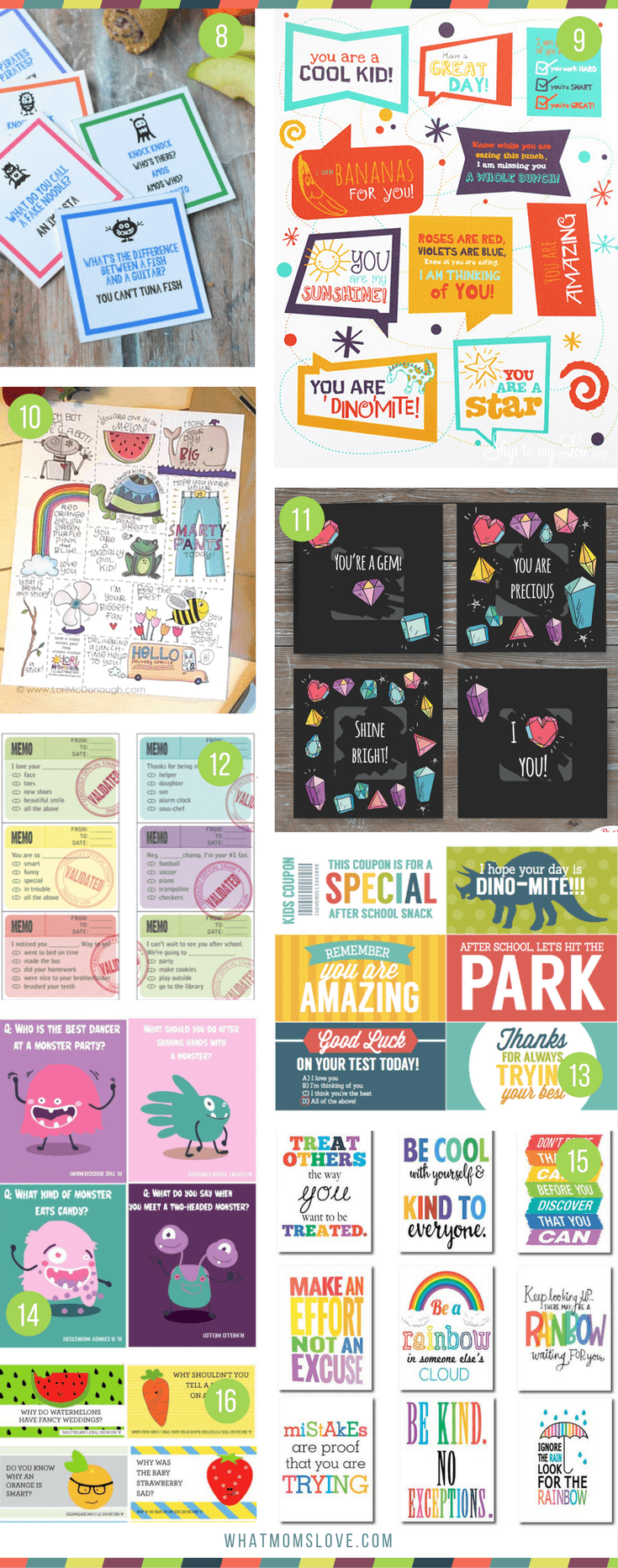 Lunch box notes for kids   Funny jokes and encouragement for girls and boys, kindergarten to teens   Many are free lunch note printables!