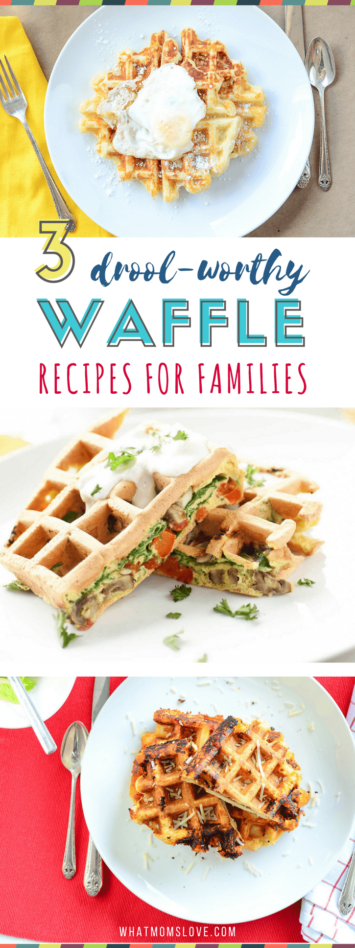 Savory Waffle Recipes for Dinner | Family Friendly Dinner Ideas | Easy, homemade waffle recipes that go beyond the buttermilk or Belgian! Fun meal ideas for kids made in your waffle iron - customizable for picky eaters!