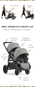 Baby Jogger City Select LUX Review - differences between City Select | Best Double Stroller for infant and toddler - can be used as travel system with car seat, pram and lots of accessories!