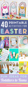 Printable Easter Activities for Kids including fun crafts, scavenger hunts, coloring pages, bag toppers, treat bags, gift tags and more! Simple and fun DIY Easter ideas for school or home for children aged preschool to teens.