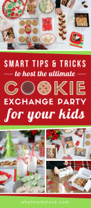 Tips and tricks for how to throw a Holiday Cookie Swap Party for kids. Includes ideas for invitations, setup, games, packaging, and favors for the ultimate Christmas Cookie Exchange!