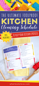 Free Printable Kitchen Cleaning Checklist | Schedule includes daily, weekly, monthly and seasonal tasks plus hacks and tips for how to keep a kitchen clean! Use with kids (great for teens!) as a chore chart or keep in your command center to organize your daily routine. Ideas for keeping your counters, cabinets and appliances fresh and clean.