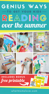 How to get your kids to read over the summer - genius tips and ideas to make reading fun for your children. Plus a Free Printable Summer Reading Kit that includes a goals page, Summer Reading Challenge chart, activities (book report, make your own book cover and color in bookmarks), reading log, rewards and incentive tokens/coupons + more! Raise a reader and hook your children with a good book when school's out. #summerreading #kidlit