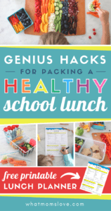 These genius tips and hacks make it easy to pack a healthy homemade school lunch for kids. Great ideas including bento boxes, clean eating guide, and a free printable that will help your kids pack their OWN lunch!