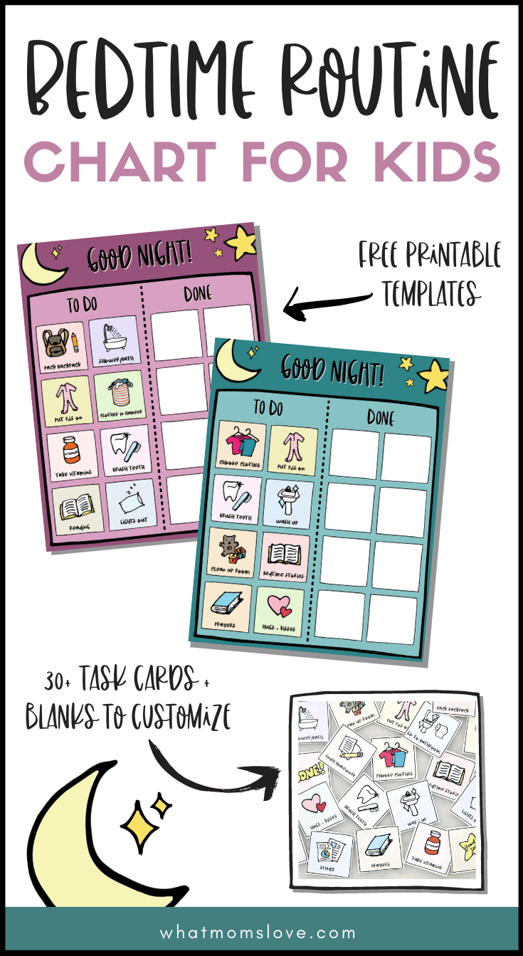 Free Printable Bedtime Routine Chart For Kids What Moms Love